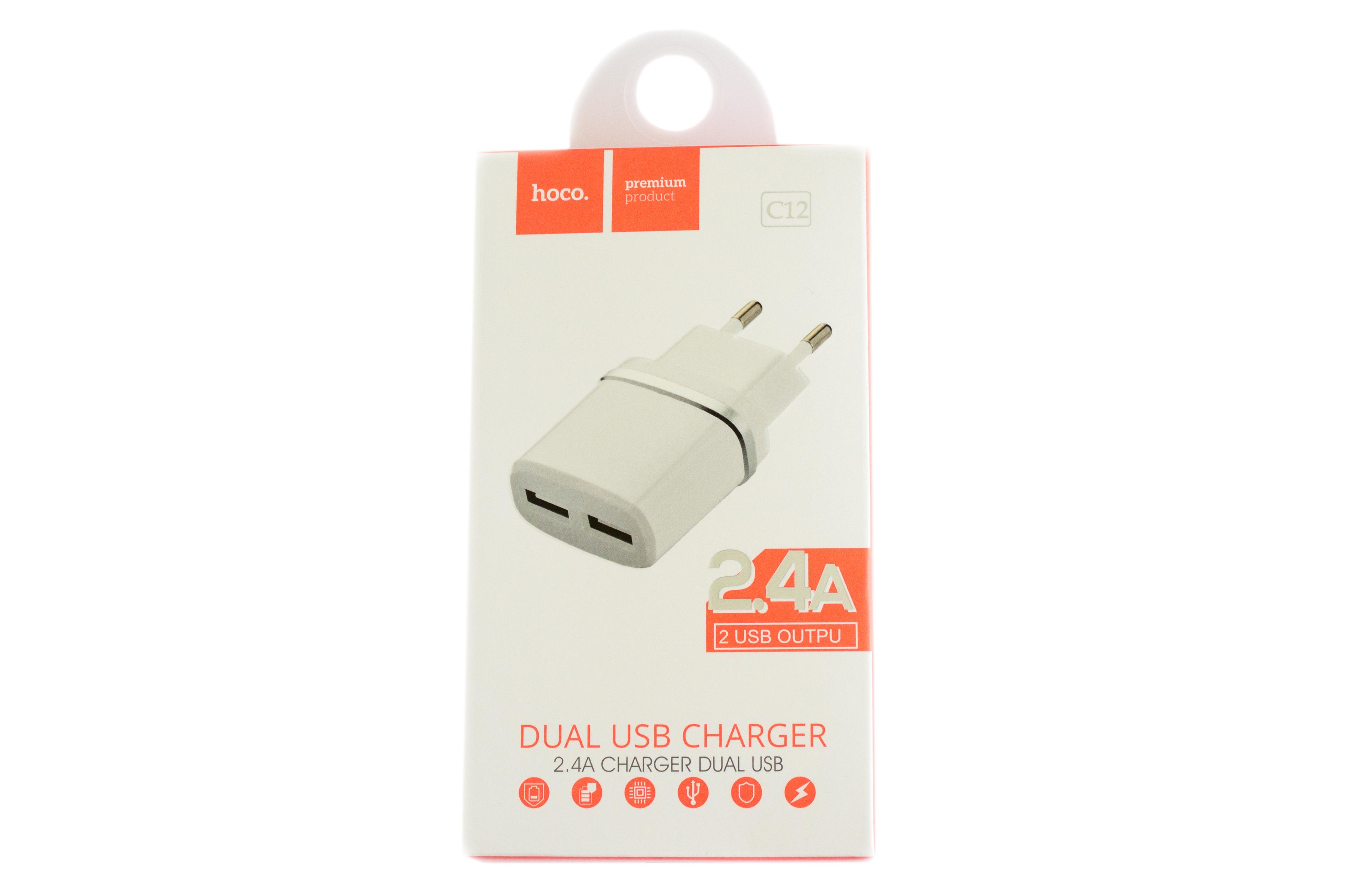 Мережевий зарядний пристрій Hoco C12 Dual USB Charger 2.4A
