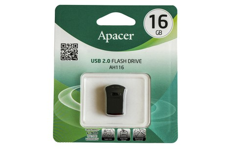 USB-флеш-накопичувач APACER 16GB AH116 Super Mini Black (AP16GAH116B-1)