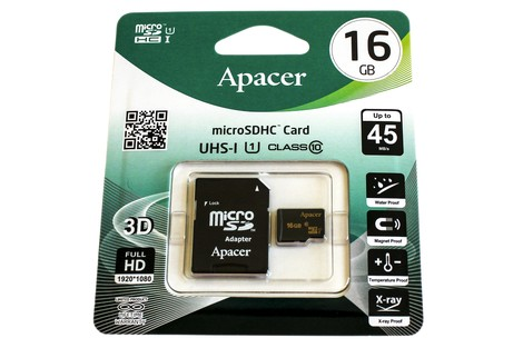Карта пам'яті Apacer 16GB micro SDHC (UHS-1) class10 + SD Adapter (AP16GMCSH10U1-R/16GB)