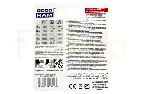 Карта памяти GOODRAM 16GB micro SDHC (UHS-1) class10 + SD Adapter (M1AA/16GB)