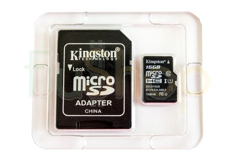 Карта пам'яті Kingston Canvas Select 16GB micro SDHC (UHS-1) class10 + SD Adapter (SDCS/16GB)