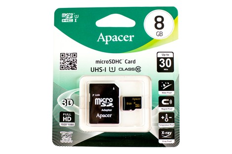 Карта пам'яті Apacer 8GB micro SDHC (UHS-1) class10 + SD Adapter (AP8GMCSH10U1-R/8GB)