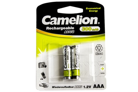 Аккумулятор Camelion AAA 300mAh NiCd (2 шт.) Rechargeable Accu Economical Energy (NC-AAA300BP2)