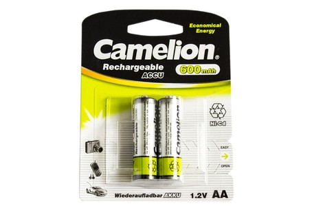 Аккумулятор Camelion AA 600mAh NiCd (2 шт.) Rechargeable Accu Economical Energy (NC-AA600BP2)